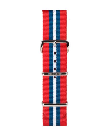 20mm Striped Nylon Watch Strap, Red/Blue/White