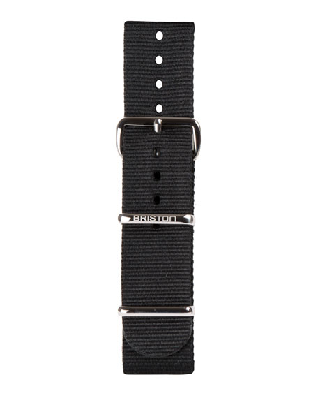 20mm Nylon NATO Watch Strap w/ Polished Buckle, Black