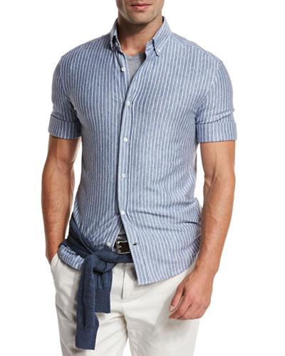 Striped Short-Sleeve Leisure Sport Shirt, Light Blue
