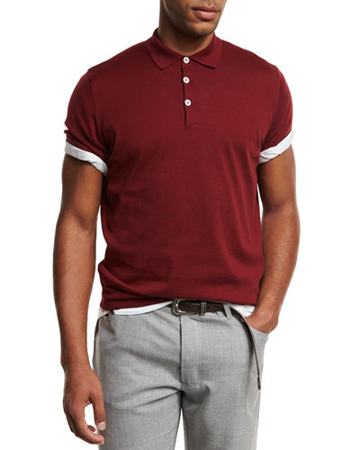 Short-Sleeve Polo Sweater, Cherry