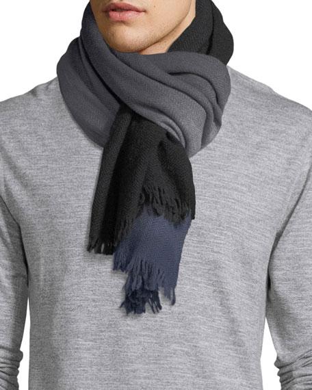 Ombre Herringbone Wool Scarf