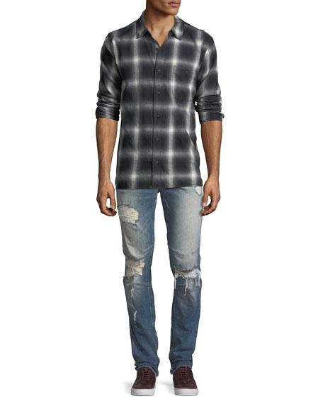 Men's Vaughn Skinny Ankle-Zip Destructed Jeans