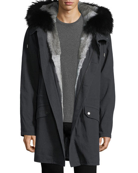 Long Classic Parka w/Rabbit Fur Lining