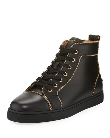 Louis Z Men's Zip-Trim Leather High-Top Sneaker