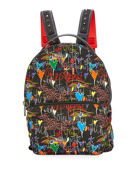 Christian Louboutin Backloubi Men's Graffiti-Print Backpack