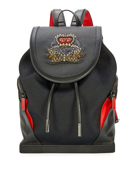 Christian Louboutin Explorafunk Men's Canvas Flap-Top Backpack