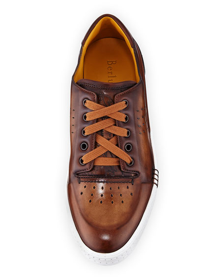 Playtime Perforated Leather Sneaker, Tobacco