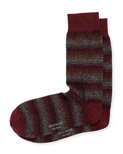 Shaded Stripe Crew Socks
