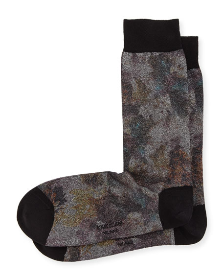 Marcoliani Metal Foliage-Print Cotton Socks