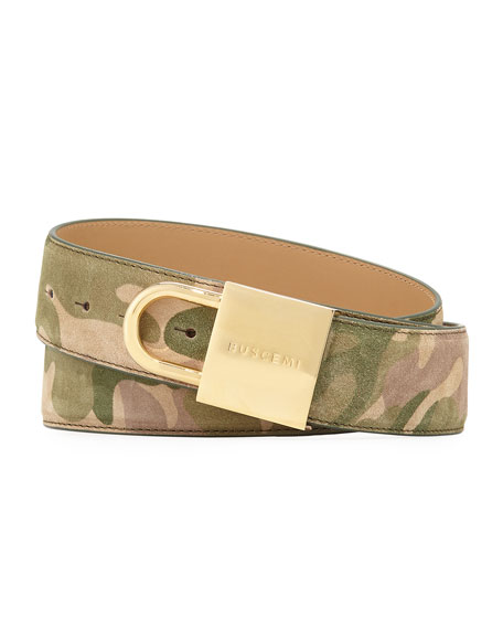 Camouflage-Print Lock-Buckle Leather Belt