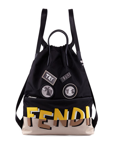 Vocabulary Monster Face Nylon & Leather Tote Backpack
