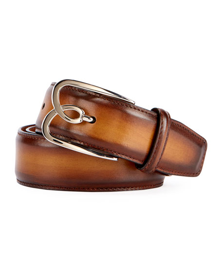 Berluti Metal-Logo Leather Belt, Tobacco