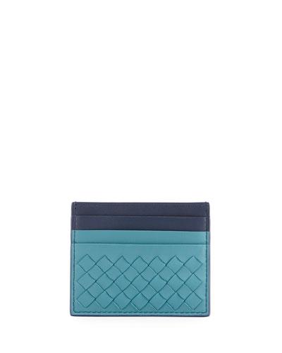 Intrecciato Two-Tone Leather Card Case