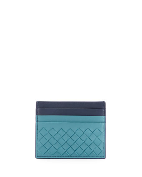 Bottega Veneta Intrecciato Two-Tone Leather Card Case