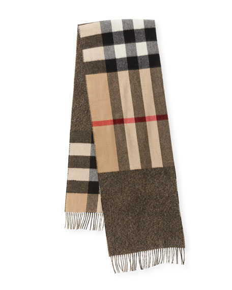 Men's Slim Cashmere Mega-Check to Solid Scarf