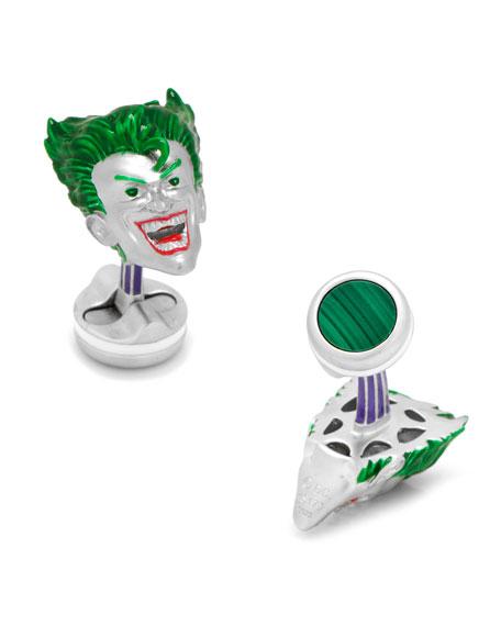 3D Joker Sterling Silver Cuff Links
