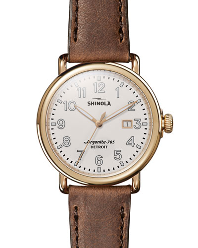 Men's Runwell Leather Watch  Brown/Gold