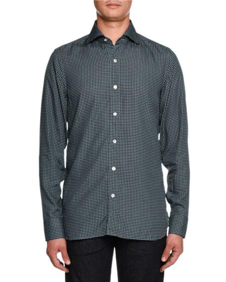 Houndstooth-Print Sport Shirt
