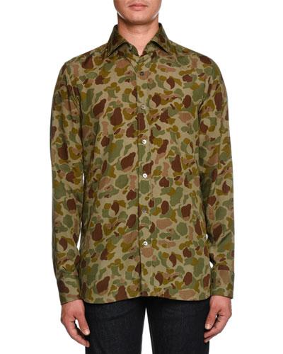 Camouflage-Print Sport Shirt, Green