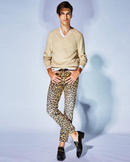 Leopard-Print Slim-Fit Denim Jeans