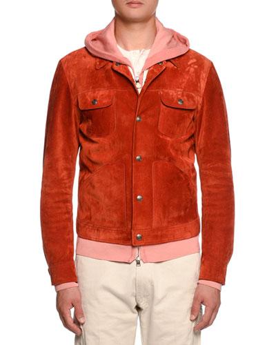 Cashmere-Trim Suede Western Jacket