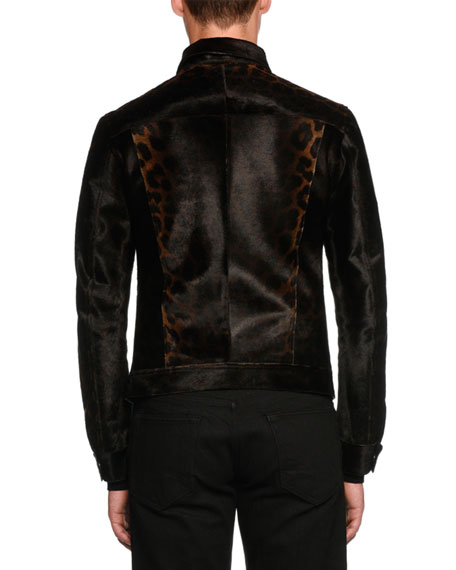 Leopard-Print Leather Jean-Style Jacket