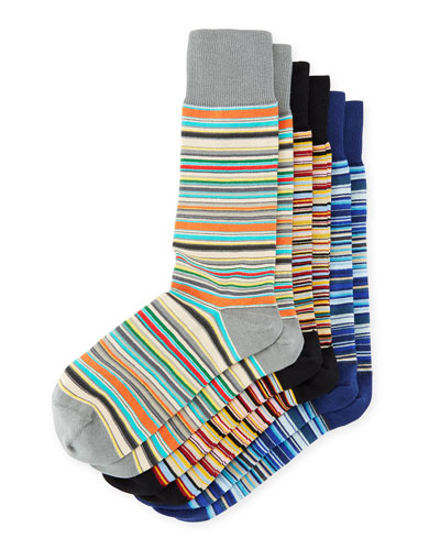 3-Pack Cotton-Blend Striped Socks