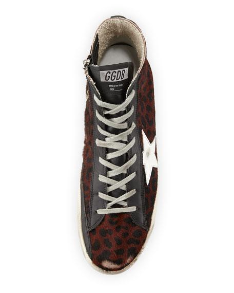 Men's Leopard-Print Calf Hair High-Top Sneaker