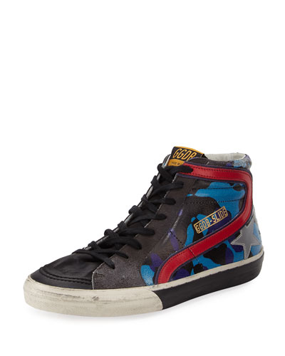 Men's Camo Star Leather High-Top Sneaker, Blue