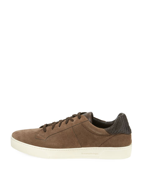 Vulcanizzato Men's Suede Low-Top Sneakers with Maserati Embossed Logo