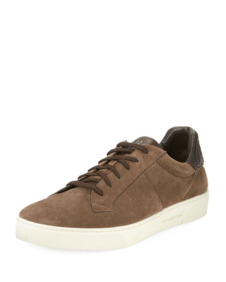 Ermenegildo Zegna Vulcanizzato Men's Suede Low-Top Sneakers with