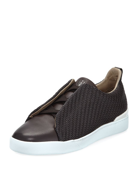 Ermenegildo Zegna Maserati Triple-Stitch Leather Low-Top Sneaker