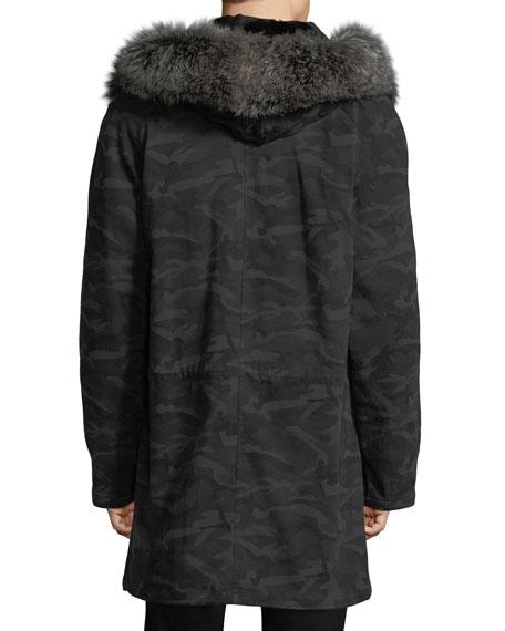 Classic Long Camo Coat w/Fur Trim