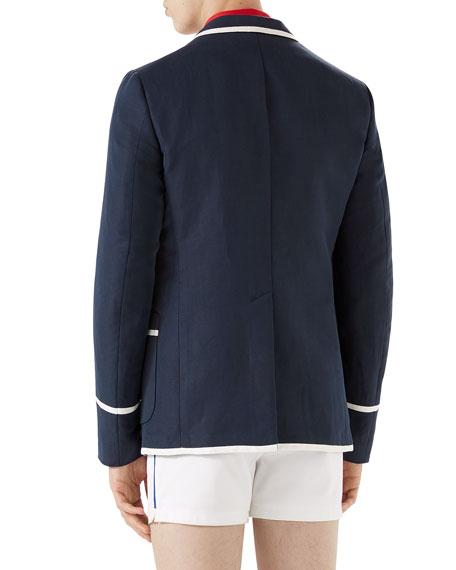 Tipped Linen-Blend Blazer