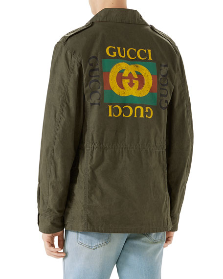 Resinated Cotton Parka with Vintage Logo Print