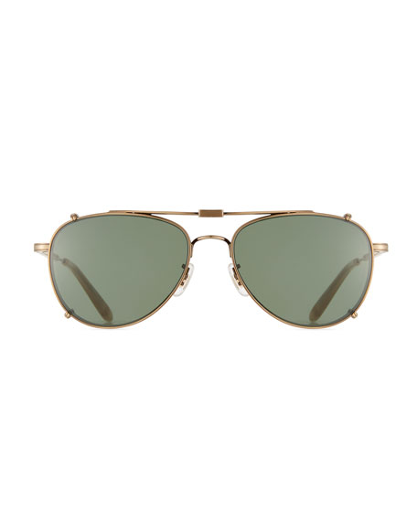 Linnie M Aviator Glasses with Clip-On Sunglasses