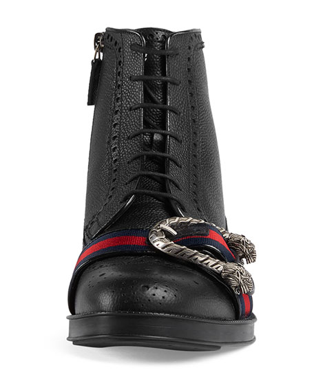Leather Brogue Boot with Web