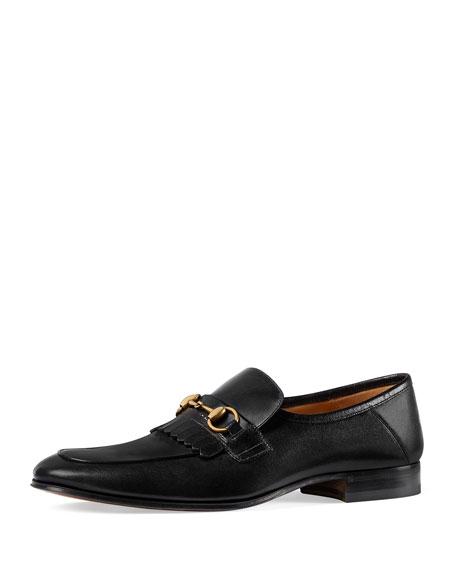 5cb9769c423 Gucci Leather Fringe Horsebit Loafer