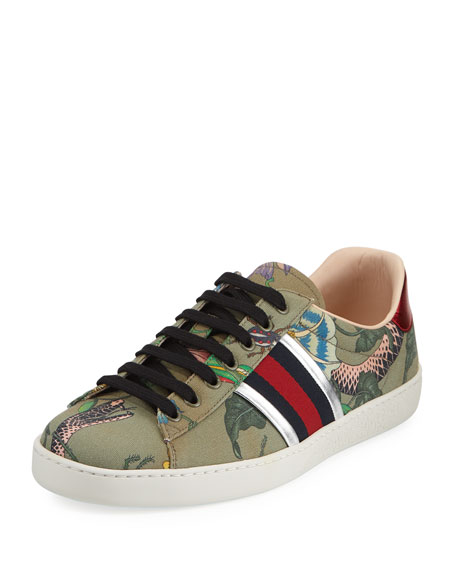 Men's New Ace Canvas Print Low-Top Sneakers
