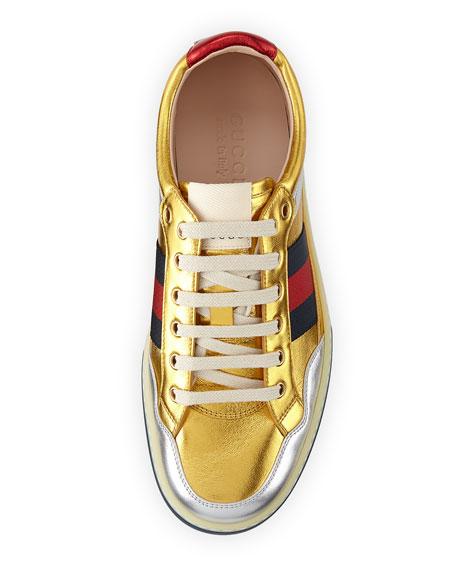 More Low-Top Metallic Leather Sneaker