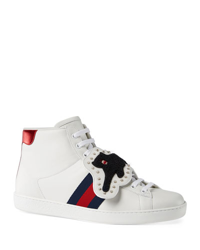 gucci shoes lion. new ace high-top sneaker with removable embroideries gucci shoes lion
