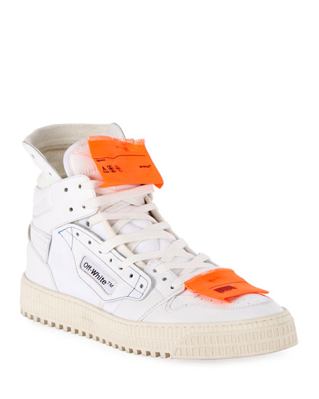 OFF-WHITE Men'S Low 3.0 Leather High-Top Sneakers, White