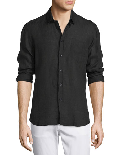 Linen Long-Sleeve Shirt, Black