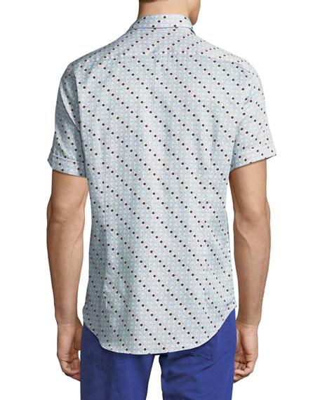 Geometric-Print Short-Sleeve Cotton Shirt
