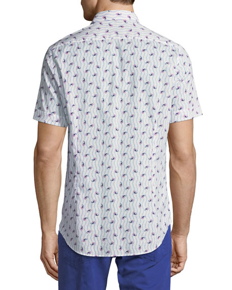 Paisley-Print Short-Sleeve Cotton Shirt