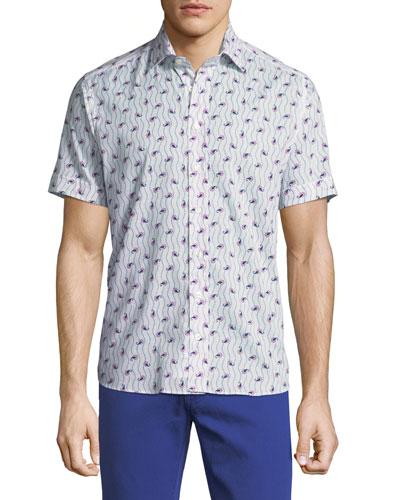 Paisley-Print Short-Sleeve Cotton Shirt