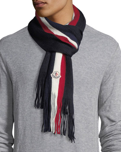 Fringed-End Striped Wool Scarf