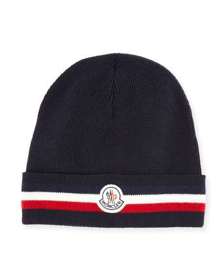 Moncler Men's Tricolor-Striped Cuff Beanie Wool Hat