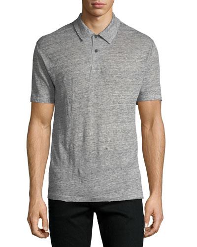Owen Heathered-Knit Linen Polo Shirt