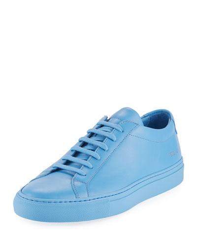 Men's Achilles Leather Low-Top Sneaker, Blue